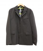 KENZO(ケンゾー)の古着「ネオンチェック裏地ジップテーラードジャケット」|ブラック