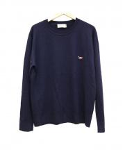 MAISON KITSUNE(メゾンキツネ)の古着「Virgin Wool R-Neck Sweater」|ネイビー