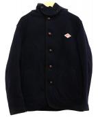 DANTON(ダントン)の古着「ウールモッサラウンドシングルフードジャケット」|ネイビー