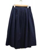 Spick and Span(スピック アンド スパン)の古着「ランダムタックフレアスカート」|ネイビー