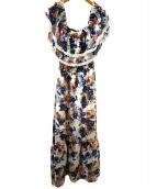 GUILD PRIME(ギルドプライム)の古着「フラワープリントロングドレス」|マルチカラー