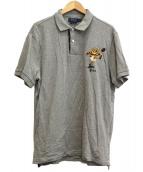 RALPH LAUREN(ラルフローレン)の古着「ラグビーボールポロベア刺繍ポロシャツ」|グレー