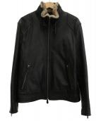 BURBERRY BLACK LABEL(バーバリーブラックレーベル)の古着「ラビットファー付レザージャケット」|ブラック
