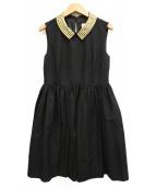 Kate Spade(ケイトスペード)の古着「スタッズカラーノースリーブワンピース」|ブラック