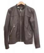 BEAUTY&YOUTH(ビューティーアンドユース)の古着「シングルレザーライダースジャケット」|ブラウン