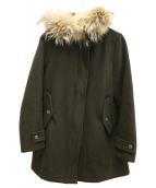 FIDELITY(フィデリティ)の古着「ナイロン混ファーウールコート」|グリーン