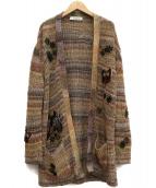 VALENTINO(バレンチノ)の古着「刺繍カーディガン」|ブラウン