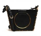 VIOLAdORO(ヴィオラドーロ)の古着「ラタンリングハンドルレザー付カゴバッグ」|ブラック