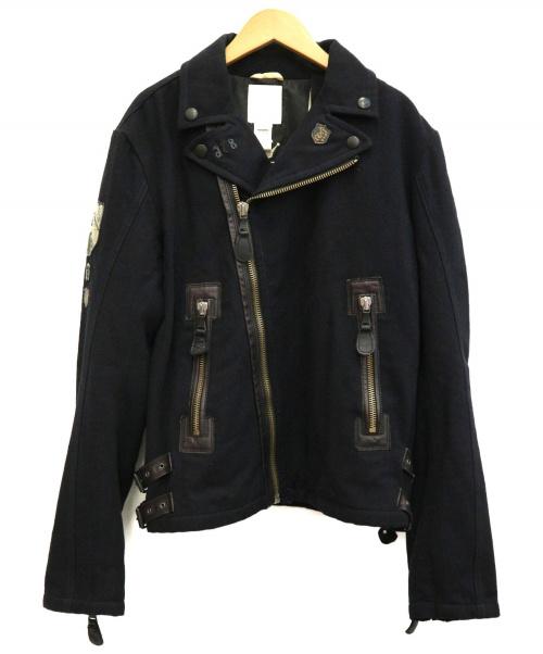 DIESEL(ディーゼル)DIESEL (ディーゼル) ダブルライダースジャケット ネイビー サイズ:Mの古着・服飾アイテム