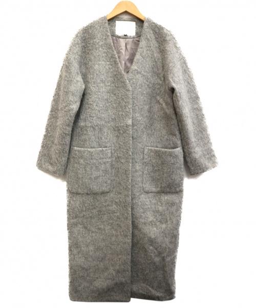 Language(ランゲージ)Language (ランゲージ) シャギーノーカラーコート グレー サイズ:38の古着・服飾アイテム