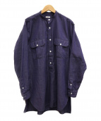 COMOLI(コモリ)の古着「バンドカラーシャツ」 ブルー