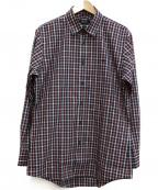 BURBERRY BLACK LABEL(バーバリーブラックレーベル)の古着「チェックシャツ」 ネイビー×レッド