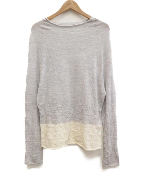 Ys(ワイズ)Ys (ワイズ) ウールギャザーバイカラーニット ホワイト×グレー サイズ:2の古着・服飾アイテム