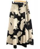 FRAY ID(フレイアイディー)の古着「フロッキーロングフレアスカート」 ブラック×グレー