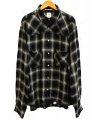 BEDWIN &THE HEARTBREAKERS(ベドウィンドアンドザ ハートブレイカーズ)の古着「オンブレチェックシャツ」|ブラック