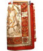 MOGA(モガ)の古着「スカーフプリントスカート」|レッド×ベージュ