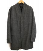 ENFIN LEVE(アンフェンレーヴ)の古着「ヘリンボーンノーカラーコート」|グレー