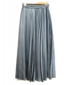 SLOBE IENA(イエナスローブ)の古着「サテンプリーツロングスカート」|ブルー