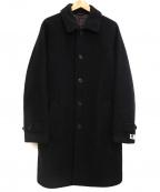 ETONNE(エトネ)の古着「ニードルパンチダブルフェイスステンカラーコート」|ブラック