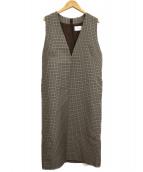 UNITED ARROWS(ユナイテッドアローズ)の古着「チェック タイトジャンバースカート」|ブラウン