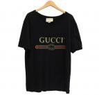 GUCCI(グッチ)の古着「ロゴウォッシュドオーバーサイズ Tシャツ」 ブラック