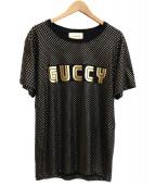 GUCCI(グッチ)の古着「GUCCYロゴスターTシャツ」 ブラック