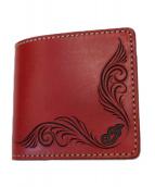 INDIAN×KCs LEATHER CRAFT(インディアン×ケイシイズレザークラフト)の古着「2つ折り財布」|レッド