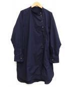 BEAUTY&YOUTH(ビューティーアンドユース)の古着「コットンタイプライターワークロングシャツ」|ネイビー
