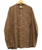 STEVEN ALAN(スティーヴンアラン)の古着「バンドカラーストライプシャツ」 ブラウン