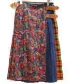 ONEIL OF DUBLIN(オニール オブ ダブリン)の古着「パッチワークキルトプリーツスカート」|オレンジ