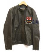 AVIREX(アビレックス)の古着「ラム C.A.P ライダース ジャケット」|グレー