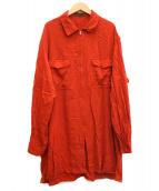 YS for men(ワイズフォーメン)の古着「[OLD]90sレーヨンジップオーバーシャツ」|レッド
