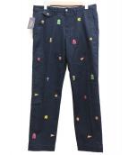 POLO RALPH LAUREN(ポロラルフローレン)の古着「クレスト刺繍パンツ」|ネイビー