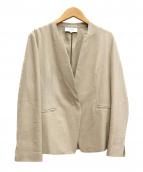 UNTITLED(アンタイトル)の古着「洗えるリネンライク デザインネックジャケット」|ベージュ