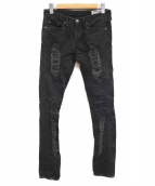 LEGENDA(レジェンダ)の古着「ダメージデニムパンツ」|ブラック