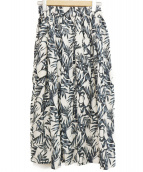 SACRA(サクラ)の古着「リネンリーフプリントスカート」 ホワイト