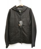 GIORGIO BRATO(ジョルジオブラット)の古着「レザーフードジャケット」|ブラック