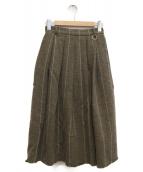 LE CIEL BLEU(ルシェルブルー)の古着「チェックフレアスカート」 オリーブ