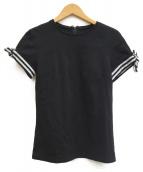 BORDERS AT BALCONY(ボーダーズアットバルコニー)の古着「リボンTシャツ」|ブラック