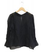 Spick and Span Noble(スピック&スパンノーブル)の古着「袖ギャザーシアーブラウス」|ブラック