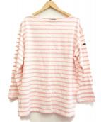Le minor(ルミノア)の古着「ビッグボーダープルオーバー」 ホワイト×ピンク