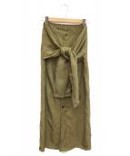 GALERIE VIE(ギャラリーヴィ)の古着「コンパクトレーヨン Iラインスカート」 ベージュ