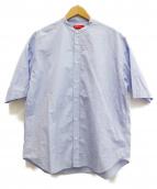 MAISON SPECIAL(メゾンスペシャル)の古着「トーマスメイソンワイドバンドカラーS/Sシャツ」|ブルー
