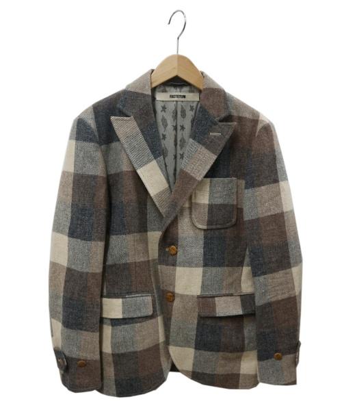 FACTOTUM(ファクトタム)FACTOTUM (ファクトタム) チェックテーラードジャケット ベージュ サイズ:44 01010224の古着・服飾アイテム