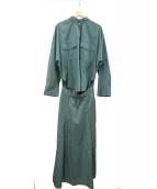 Mila Owen(ミラオーウェン)の古着「ボタンダウンドルマンシャツワンピース」|グリーン