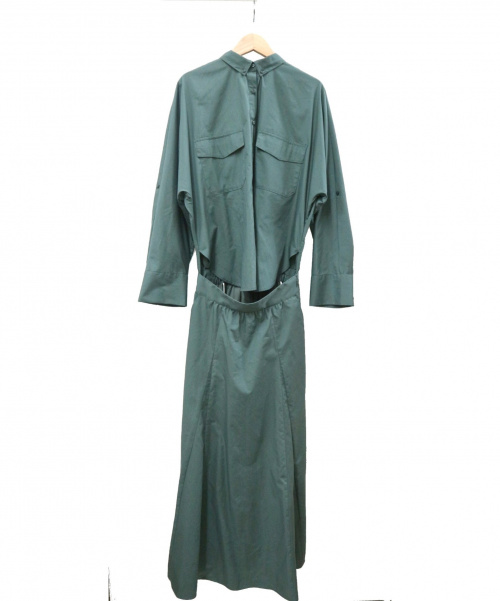 Mila Owen(ミラオーウェン)Mila Owen (ミラオーウェン) ボタンダウンドルマンシャツワンピース グリーン 09WF0195016の古着・服飾アイテム