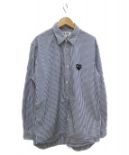 PLAY COMME des GARCONS(プレイコムデギャルソン)の古着「ワンポイントロゴストライプシャツ」|ブルー×ホワイト