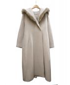 CELFORD(セルフォード)の古着「エコファーフードコート」|アイボリー