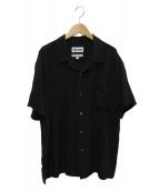 DOUBLE RAINBOUU×THE SLOW(ダブルレインボウ×ザスロー)の古着「刺繍オープンカラーシャツ」|ブラック