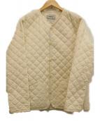 YAECA(ヤエカ)の古着「ノーカラーキルティングジャケット」|ベージュ
